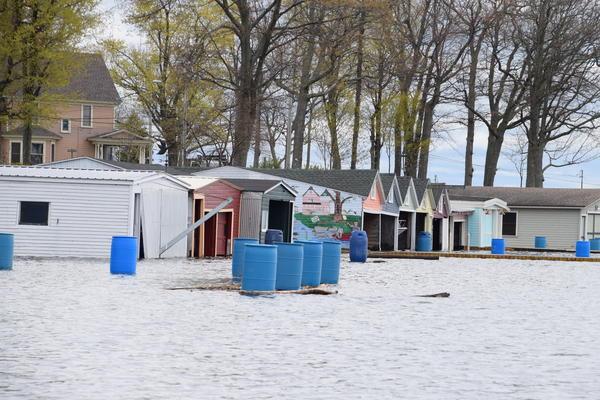 Boathouses under water on Wellesley Island