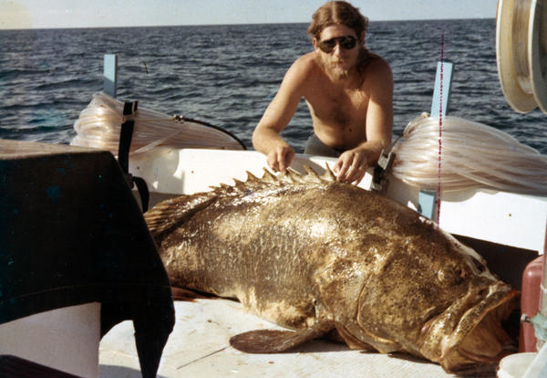 Tommy Thomas with a goliath grouper taken at the Marquesas in December 1978. Collection of Don DeMaria.