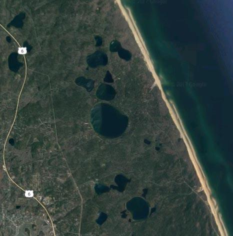 Several of the Cape Cod National Seashore kettle ponds are seen in this satellite image. (Google)