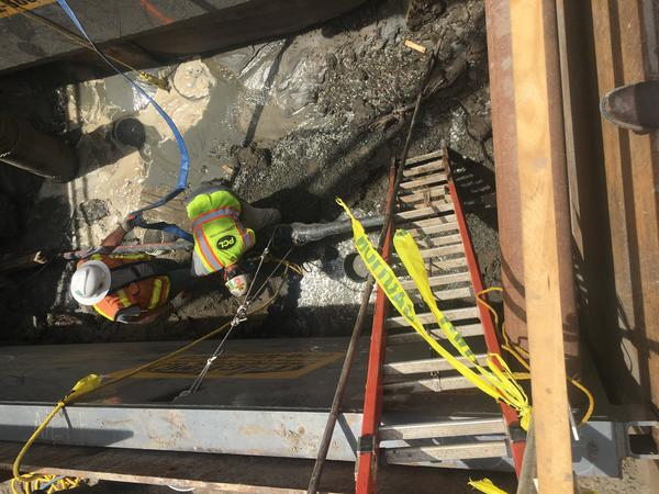 Crews worked to reconnect power cables that caused a blackout on Ocracoke and Hatteras Islands.