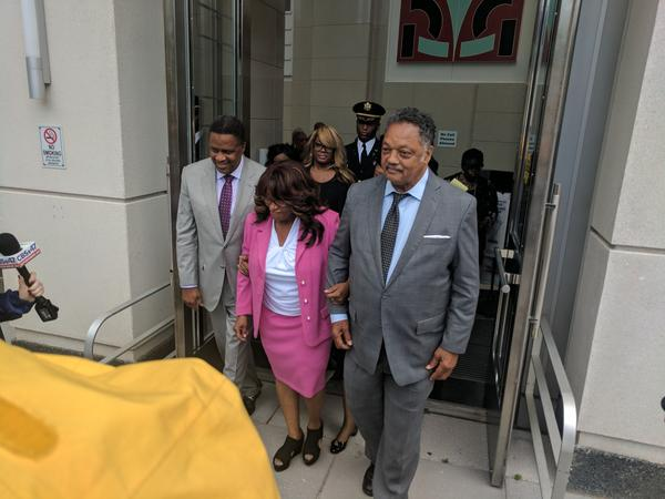 From left to right: Jacksonville City Councilman Reggie Brown, former congresswoman Corrine Brown and the Rev. Jesse Jackson