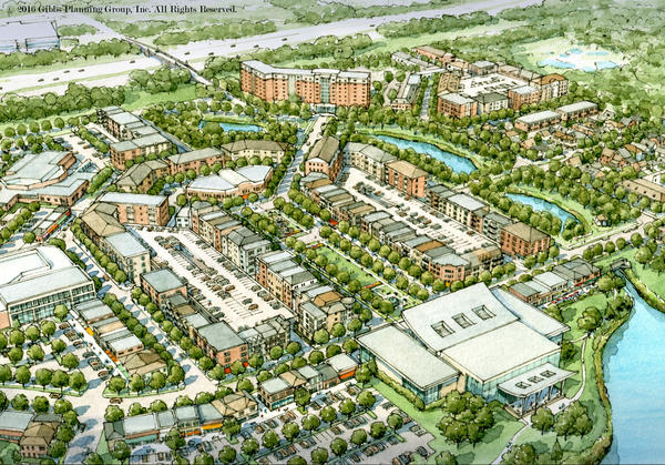 an aerial view of the proposed Troy downtown development plan by Gibbs Planning Group