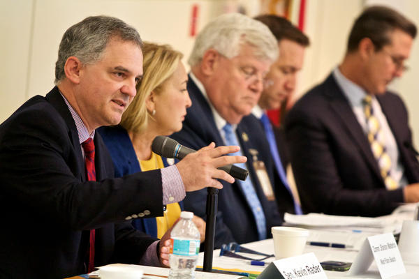 Sen. Kevin Rader, D-Boca Raton, speaks to a roundtable of officials, first responders and advocates about the opioid epidemic at Palm Beach State College in Lake Worth on Aug. 8, 2017.