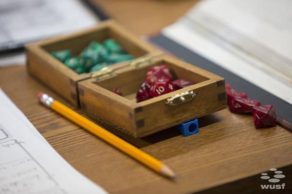 Players use dice to create their characters and determine the outcomes of their chracters' actions during the game.
