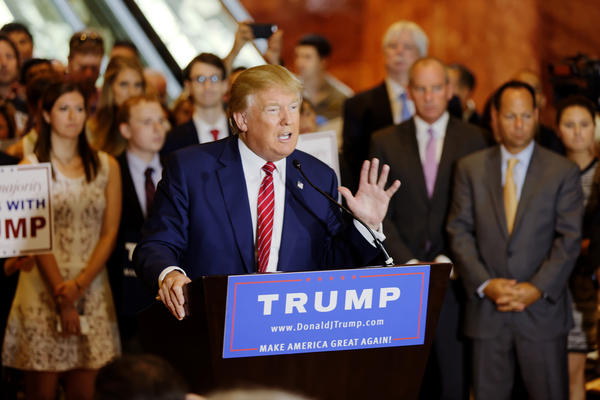 Then-presidential candidate Donald Trump at a press conference at Trump Tower in New York in 2015.
