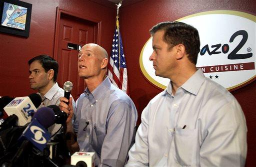Governor Scott during a visit to Doral to meet with member of the Venezuela opposition.