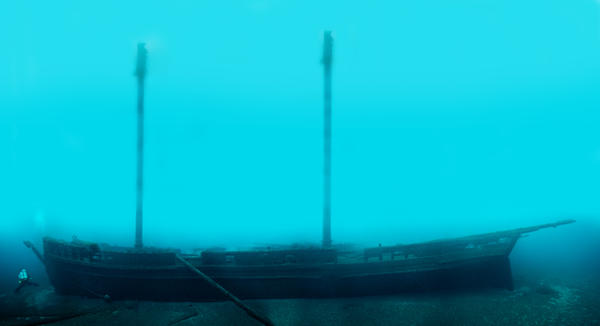 One of the shipwrecks in the Thunder Bay National Marine Sanctuary