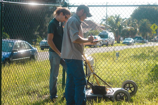 Florida Department of Environmental Protection geologists use ground penetrating radar on a plot of land used by the city to dump lime sludge, a by-product of a water treatment process.