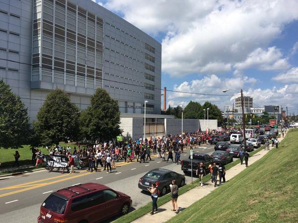 Anti-white supremacist protesters marched around downtown Durham on Friday, August 18, 2017.