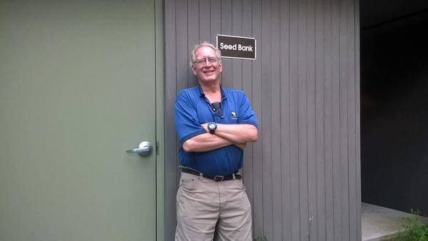 "Bill Brumback, outside the ""seed vault,"" in Framingham, Mass."