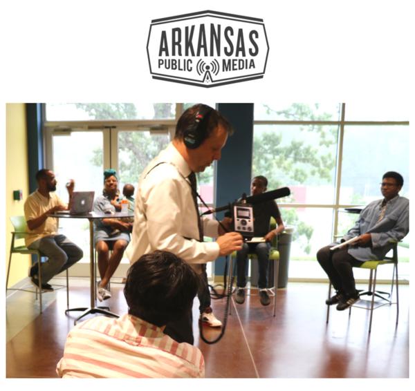 Bobby Ampezzan demonstrates audio recording equipment