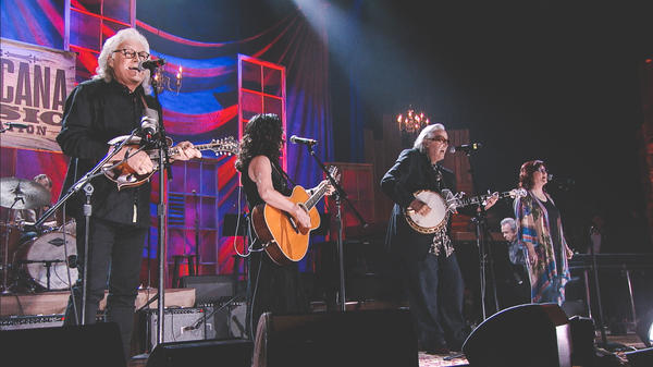 """Ricky Skaggs, Sharon White, and Ry Cooder perform """"Over in the Glory Land"""" at the 2015 Americana Music Awards."""