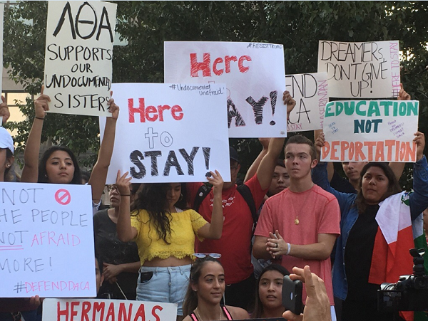 Supporters of a program protecting young immigrants from deportation gathered in downtown Durham on Tuesda,y September 5, 2017.