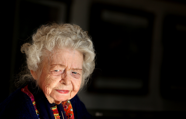 In this Tuesday, Dec. 9, 2014 photo, Nancy Hatch Dupree, 87, listens during an interview with The Associated Press at the Afghanistan Center at Kabul University.