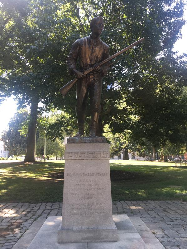 Henry Lawson Wyatt, from Edgecombe County, was the first Confederate soldier to die in battle in the Civil War. A private in the Confederate Army, he was killed at the Battle of Big Bethel in Virginia on June 10, 1861.