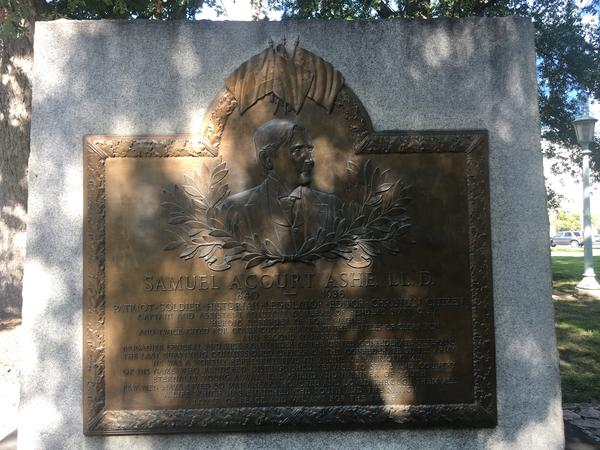 This tablet is a tribute to Captain Ashe who, as a captain in the Confederate Army, took part in the defense of Fort Wagner, S.C. He later served as a legislator, newspaper editor, and historian.