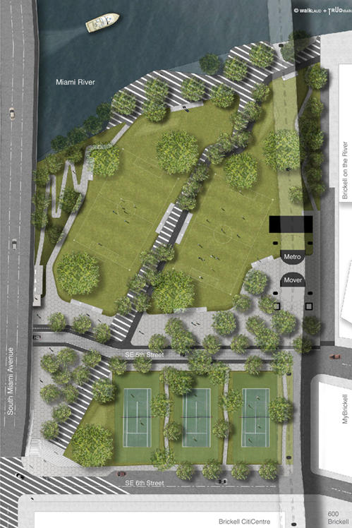 A site plan Brickell Green Space commissioned of the park it hopes to see built in downtown Miami. The space would include tennis courts, open fields and a jogging loop.