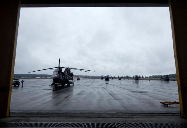 A rainy day in western Washington grounds a CH-47 Chinook helicopter at the Washington National Guard Army Aviation Support Facility.