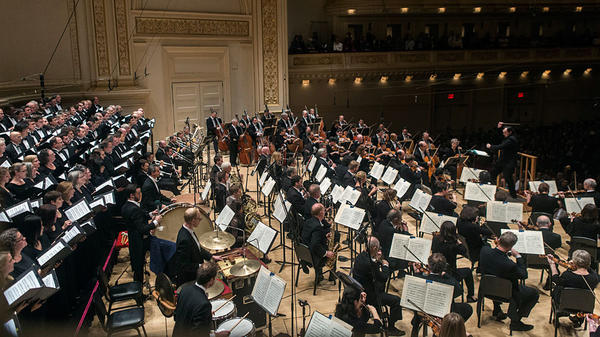 Conductor Andris Nelsons led the Boston Symphony Orchestra and the Tanglewood Festival Chorus Thursday in Prokofiev's <em>Alexander Nevsky</em> at Carnegie Hall in New York.