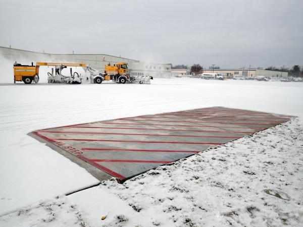 Halil Ceylan of Iowa State University says heated test slabs at Des Moines International Airport stay clear of snow without plowing.