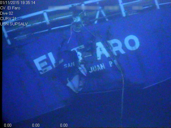 This undated image made from a video released April 26, 2016, by the National Transportation Safety Board shows the stern of the sunken ship El Faro.