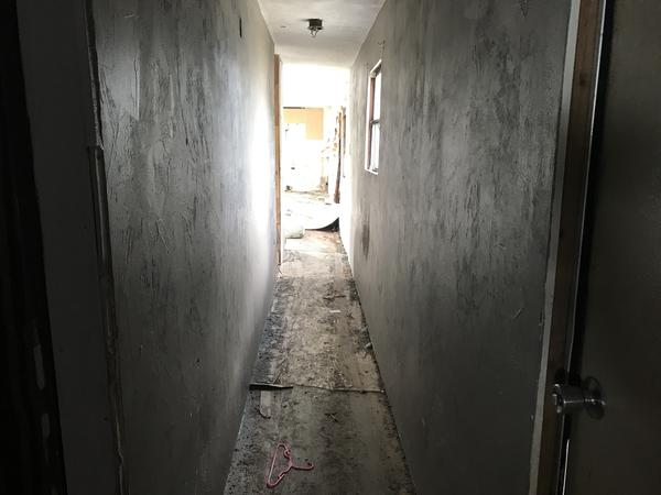 The hallway of the trailer.