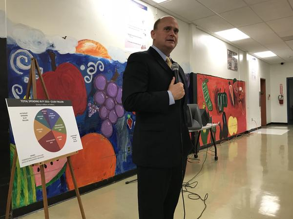 Rep. Tom Reed (R-Corning) talks tax overhaul at a town hall in Seneca County.