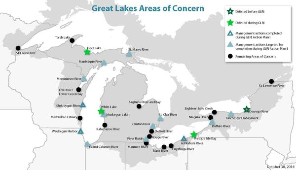 The US Areas of Concern in the Great Lakes region