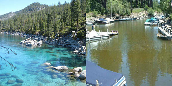 "The ""browning"" of the world's waters, shown here in two pictures from different parts of Lake Tahoe, is negatively affecting the ability of UV rays to kill pathogens."