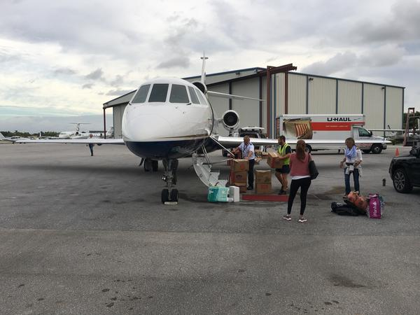 The small plane that carried eight people to Ft. Lauderdale, lands at the Sano Jet Center Saturday Oct. 28 2017.