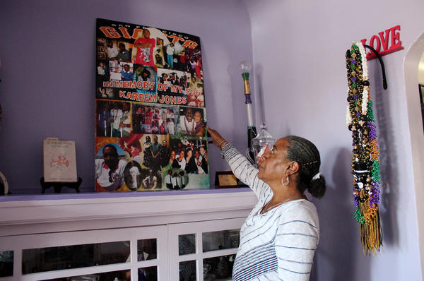 In her San Francisco home, NeDina Brocks-Capla has made a shrine filled with memories of son Kareem Jones, who died of sickle cell disease in 2013.