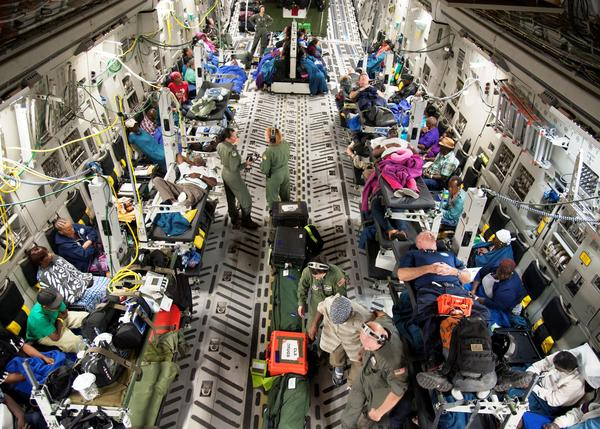 Patients in need of medical care are evacuated from St. Croix by the 45th Aeromedical Evacuation Squadron of Reserves based at Tampa's MacDill AFB.