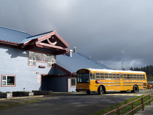 A school bus is always on standby at the Quileute Tribal School front door when classes are in session in the event a tsunami evacuation warning sounds.