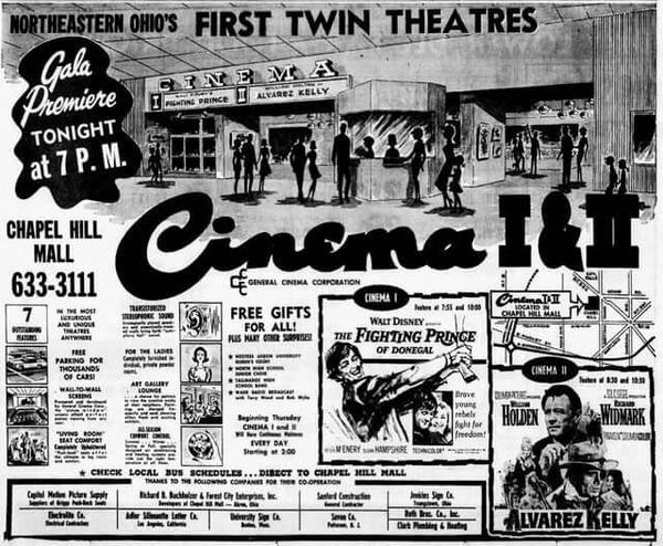 When Chapel Hill Mall opened in 1967, it was the first enclosed shopping center in Akron. The two-screen cinema opened in 1966 and was eventually divided into five theaters before closing in the mid-1990s.
