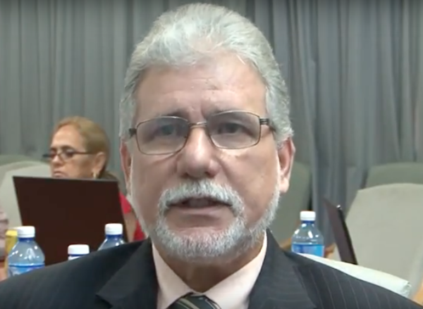 Cuban neurologist Nelson Gomez discussing acoustic science during the Cuban government's online forum this week.