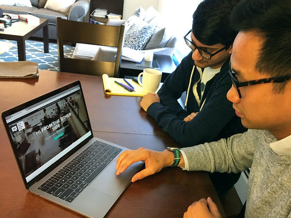 Henry Tsai (front) and Yasyf Mohamedali created Hi From The Other Side, a website that connects people with opposing political views online and then gets them to meet in real life.