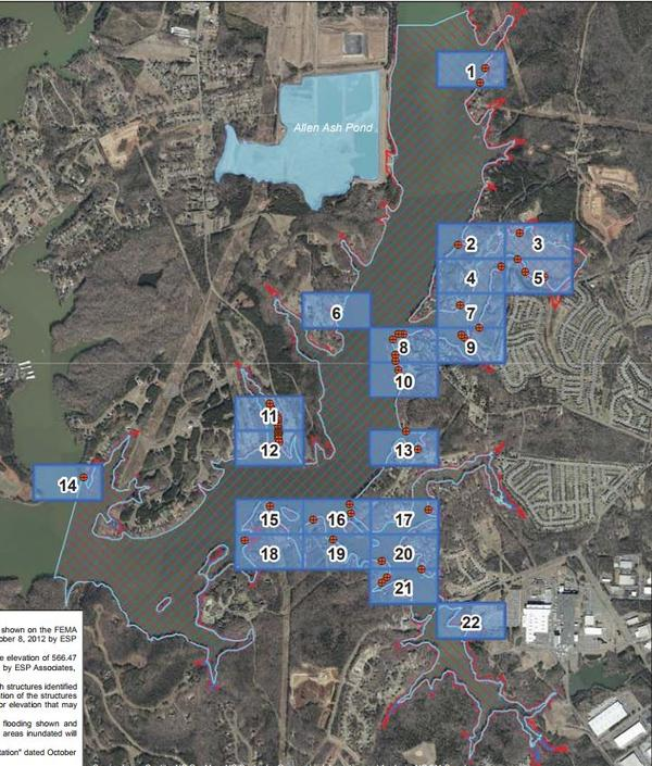 A map of potential coal-ash inundation from coal ash ponds at the Marshall plant on Lake Norman.