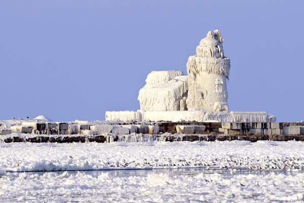 The Cleveland Harbor West Pierhead Lighthouse covered in ice