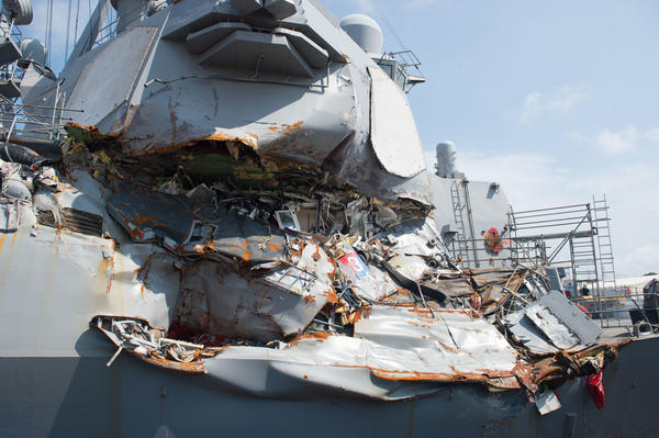 The USS Fitzgerald sits in dry dock in Yokosuka, Japan after a June 17 collision with a merchant vessel.
