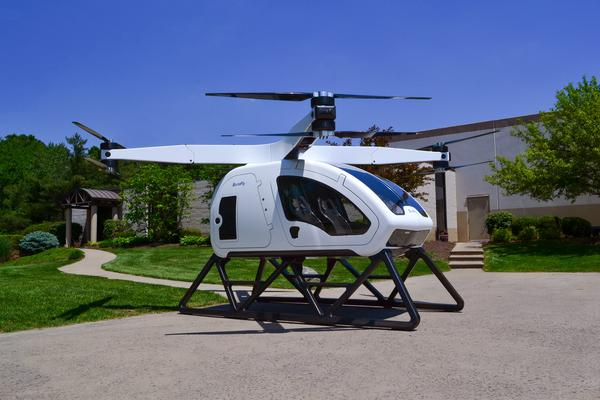 SureFly is a two-passenger drone developed by Workhorse. The $200,000 vehicle is expected to be commercially available in 2019.