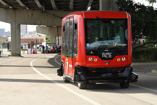 JTA tests an autonomous vehicle along Bay Street in Jacksonville in March of 2017.