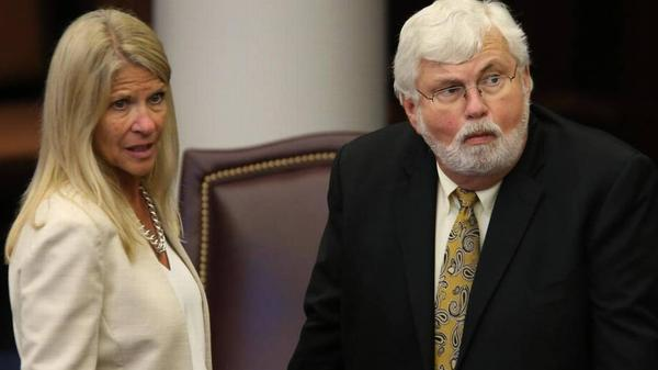 Sen. Jack Latvala, R-Clearwater, right, and Sen. Debbie Mayfield, R-Vero Beach.