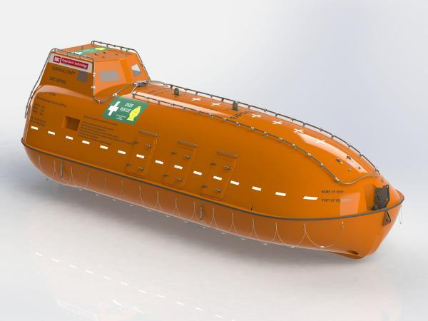 One model of self-propelled, enclosed lifeboats new ships are currently required to carry.