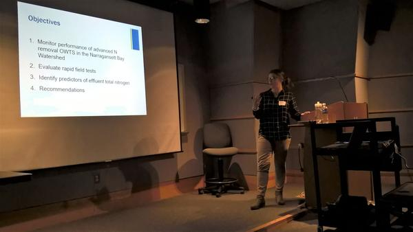 Soil researcher Sara Wigginton presents data at the New England Onsite Wastewater Training Program, on December 7, 2017.