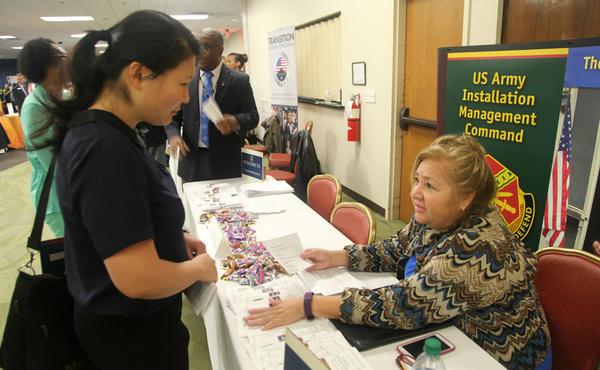 A job fair at Joint Base San Antonio in 2016.