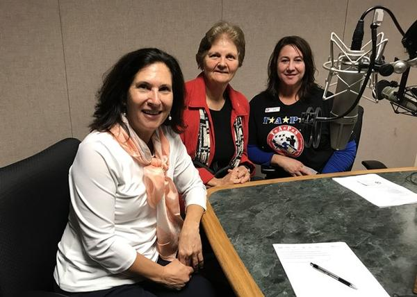 Florida Matters host Robin Sussingham (l) in the studio with two panelists from the show on veteran suicide, Chaplain Linda Pugsley and Carla Stumpf-Patton with the Tragedy Assistance Program for Survivors, or TAPS.