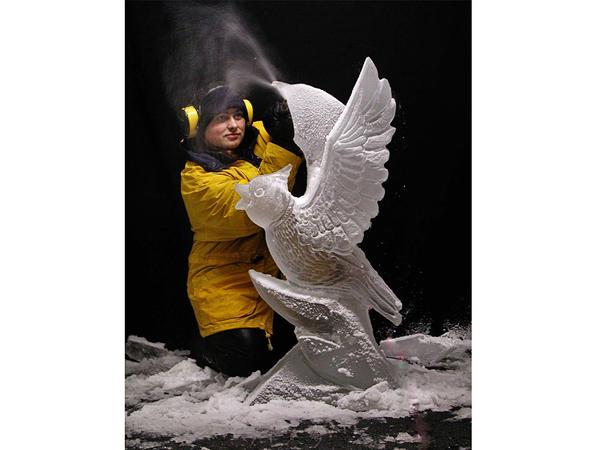 Professional ice carver Tajana Raukar, originally from Croatia, lives and works in Plymouth.