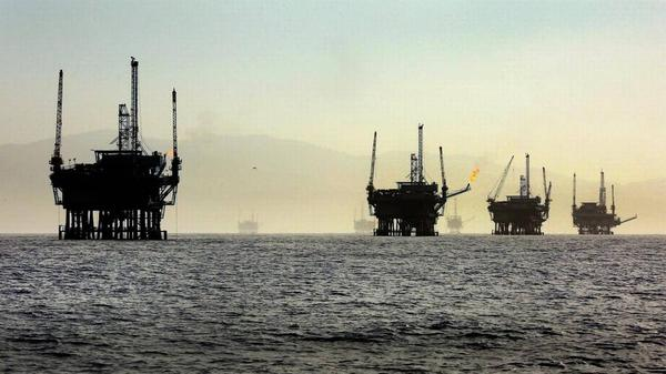 A line of oil rigs sits in the Santa Barbara Channel off the California Coast. A Trump administration plan to expand oil drilling included Florida, surprising industry analysts. This week Florida was withdrawn after Gov. Rick Scott raised concerns.
