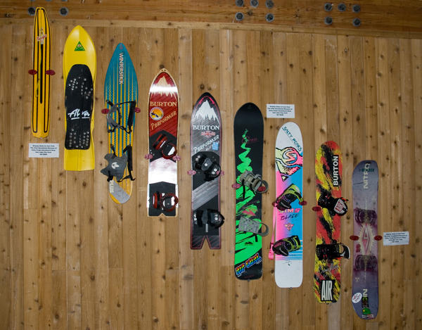 The snurfer (on left) has Michigan roots and predates the snowboard.