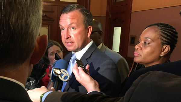 State Sen. Andy Manar (D-Bunker Hill) addresses a crowd of reporters during what he thought was a temporary break in negotiations on SB1, his school funding reform bill.